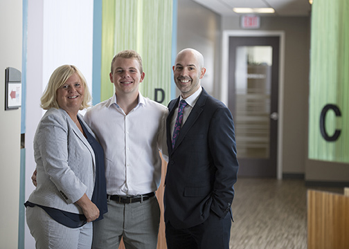 Joe with his mother and Dr. DiNapoli