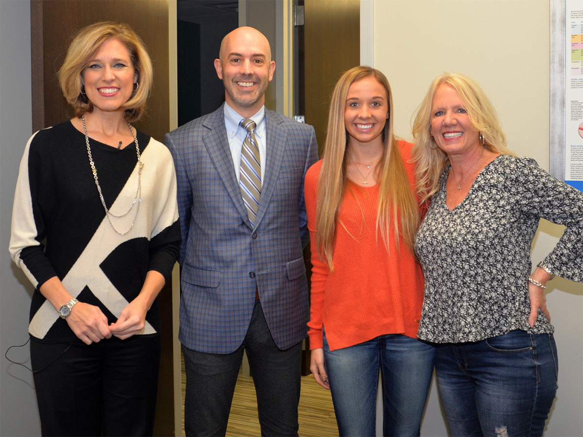 Photo: from left, Ms. Hartman, Dr. Vincent DiNapoli, Makenzi, and Makenzi's mother, Traci